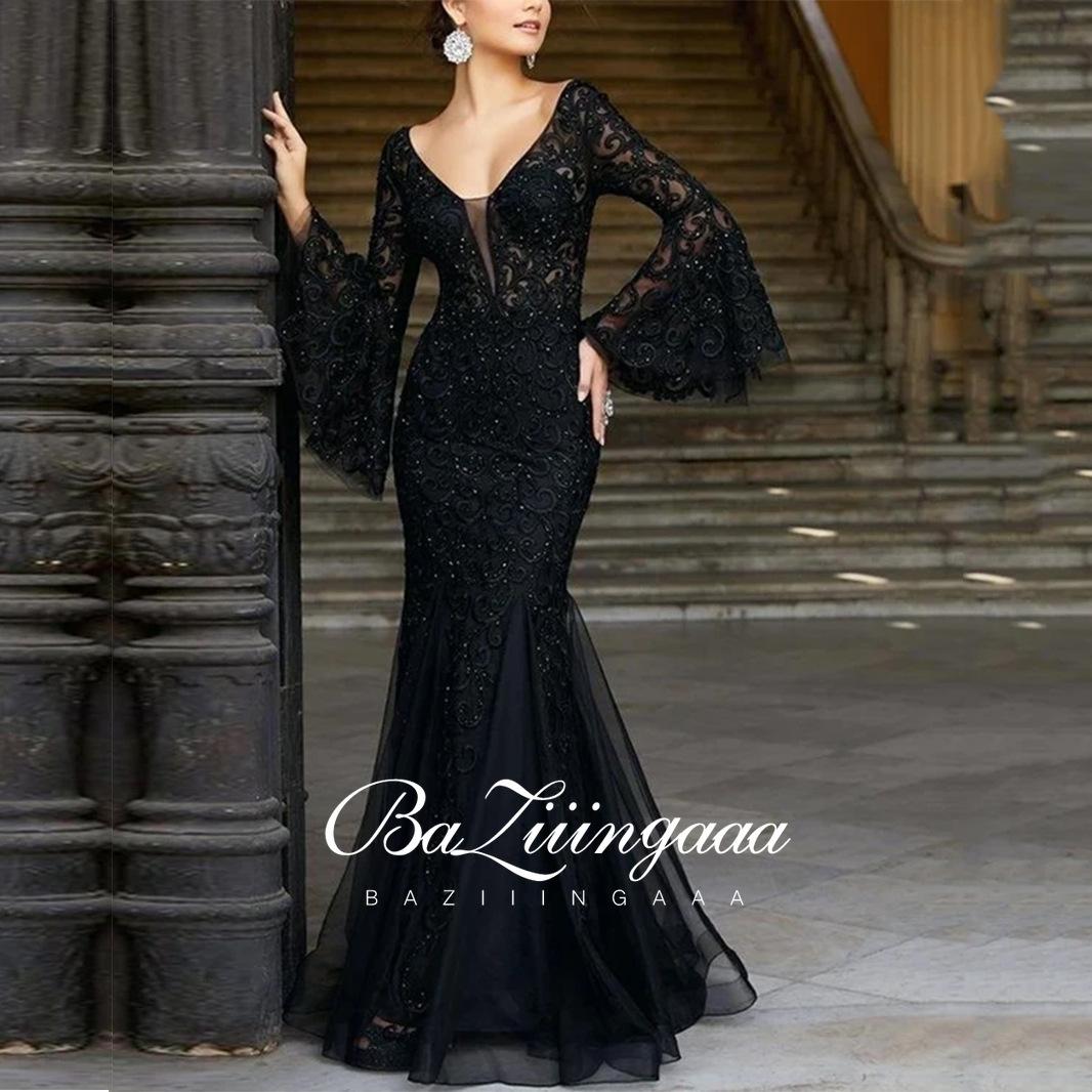 New Elegant Woman Evening Gown Plus size slim printed long evening dress Ever Pretty Dress