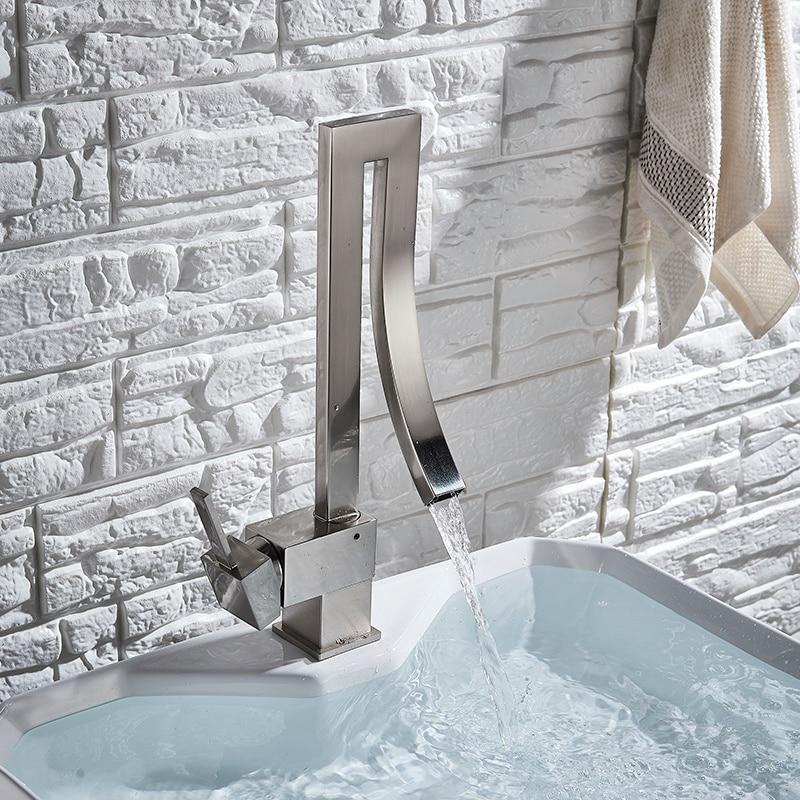 He572e8a53268475d9d42da0eb01b595fA Chrome Brass Basin Faucet Fashion Style Single Handle Waterfall Basin Mixer Tap Hot Cold Bathroom Faucets Sink Waterfall Faucet