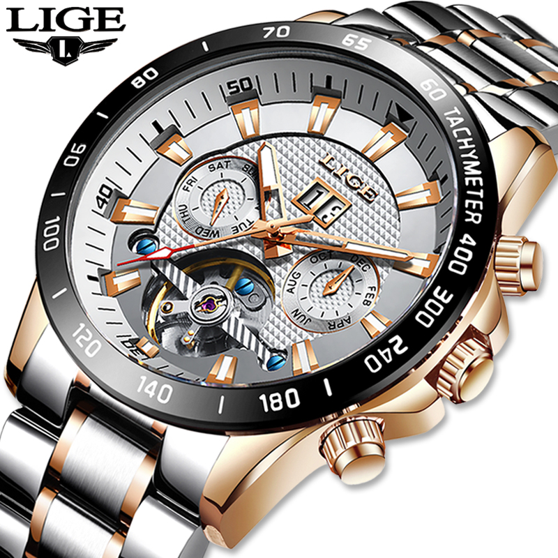 LIGE Skeleton Tourbillon Mechanical Watch Men Automatic Classic Rose Gold All Steel Mechanical Wrist Watches Reloj Hombre 2020