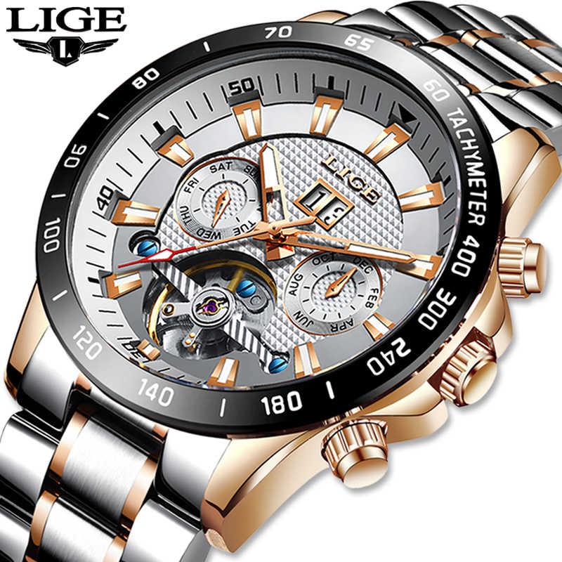 ליגע שלד Tourbillon מכאני שעון גברים אוטומטי קלאסי עלה זהב כל פלדה מכאני יד שעונים Reloj Hombre 2020