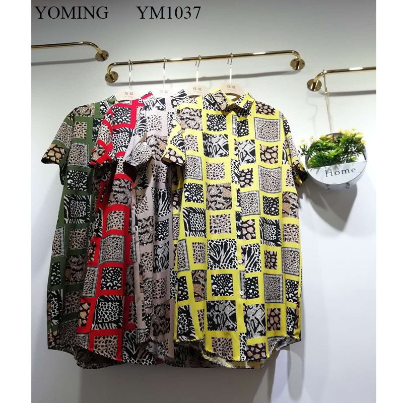 YOMING YM1037 Fashion Africa Plus Size Women Print Long Blouses Turn-down Collar Short Sleeve Buttons Style Lady Shirts Dress