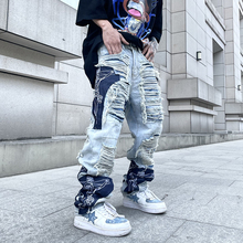 High Street Hole Fringe Embroidery Jeans Pants Mens Color Block Tassel Ripped Retri Denim Trousers Oversize Baggy Jean Pants