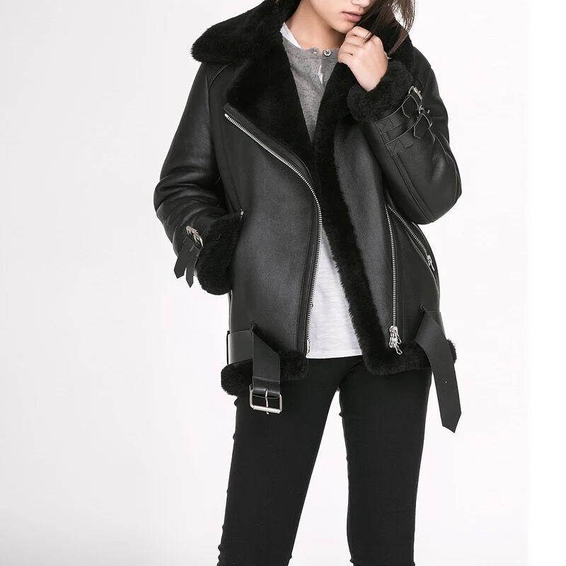 Peau de mouton naturelle et fourrure femmes manteau 2019 hiver mode mérinos fourrure de mouton chaud et épais moto en cuir véritable veste de fourrure
