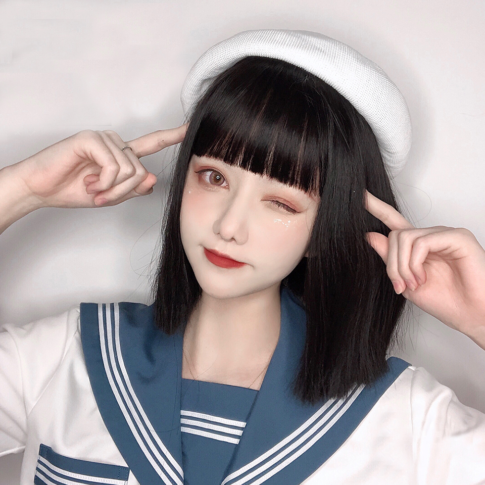 Female Short Straight Soft Hair Black Lolita Girls Daily Cute Natural Realistic Bangs Synthetic High Temperature Resistant Wig