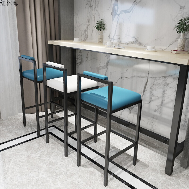 Nordic Modern Minimalist Bar Stool Bar High Stools Home Wrought Iron Coffee Shop Solid Wood Strip Table