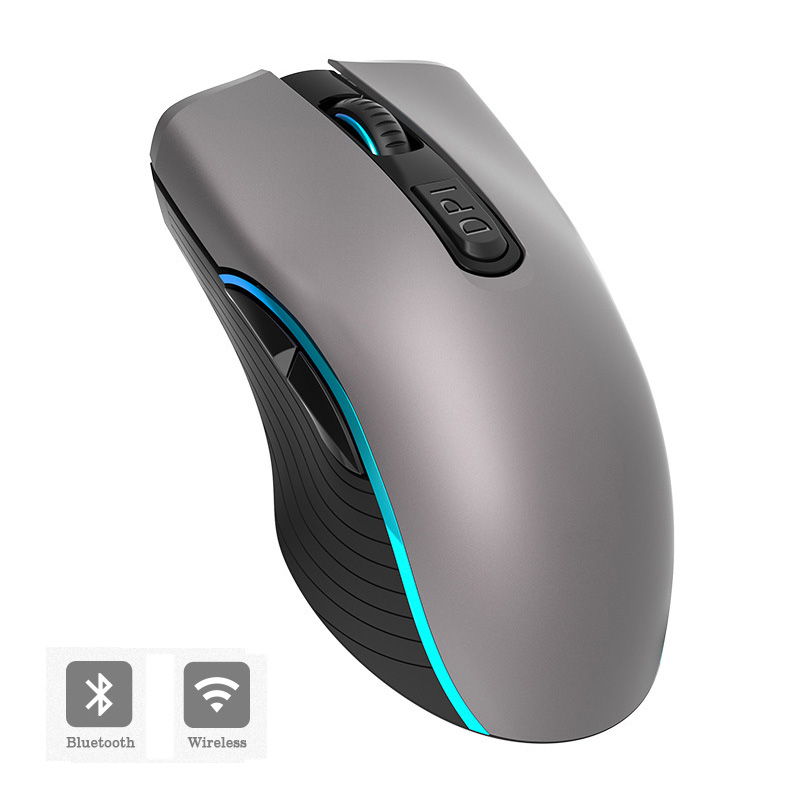 2.4G Wireless+Bluetooth Mouse Rechargeable 2400DPI Professional Gaming Mouse For Macbook Lenovo 7 LED Light Gamer Computer Mouse
