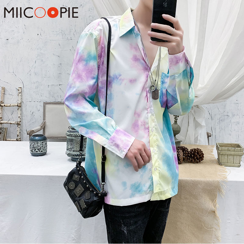 2020 Brand Loose Hawaiian Men Shirt Dress Fashion Harajuku Style Long Sleeve Chemise Homme Spring Summer Soft Tie Dye Streetwear