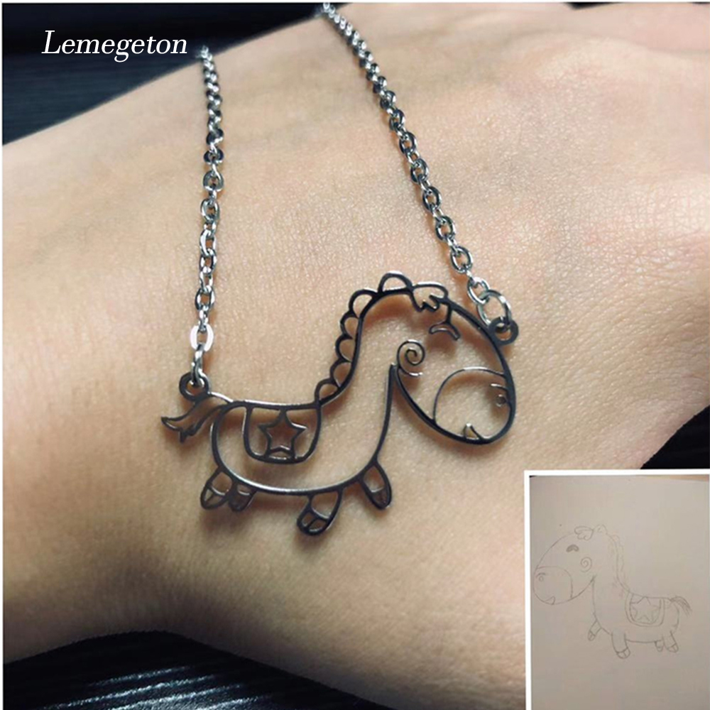 Lemegeton Customized Children's Drawing Necklace Child Kid's Artwork Personalized Necklaces Custom Jewelry Christmas Gift