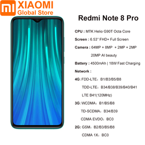 Image 2 - Küresel sürüm Xiaomi not 8 Pro 6GB RAM 128GB ROM Smartphone NFC Helio G90T hızlı şarj 4500mAh 64MP kamera akıllı cep telefonu