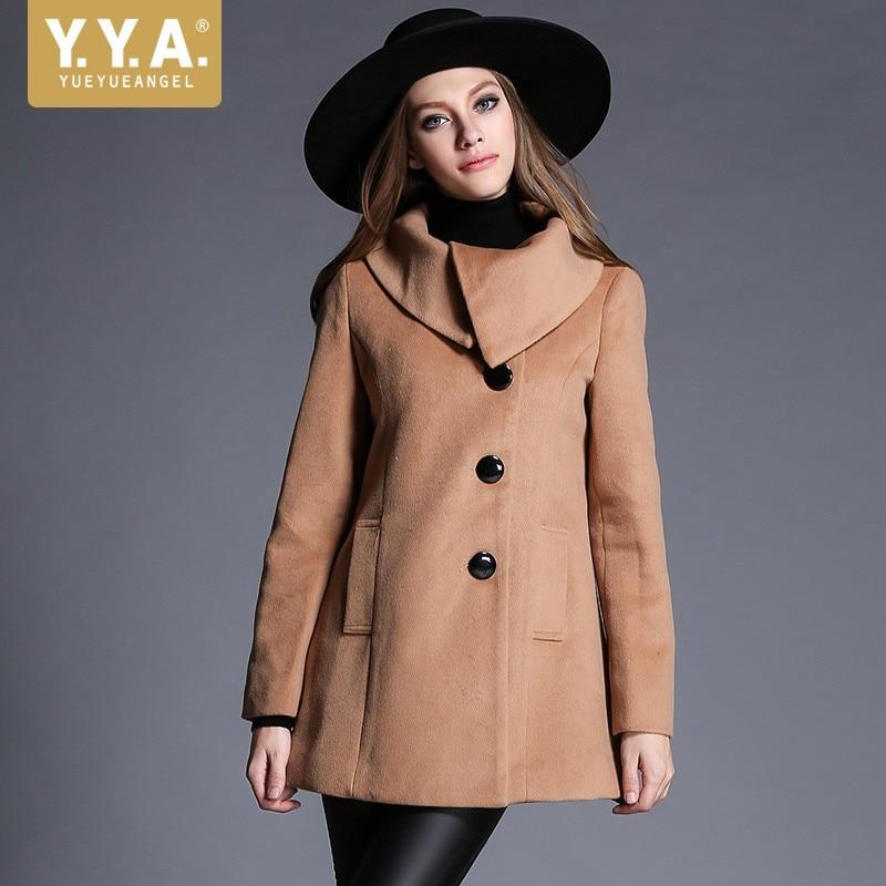Autumn New Women Woolen   Trench   Coat England Style Lapel Collar Single Breasted Long Dust Coat Windbreaker Sobretudo Feminino