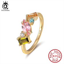 ORSA JEWELS โรแมนติก 925 แหวนเงินทองชุบสีสันสดใส Zircon แหวนเงิน 925 เครื่องประดับสำหรับผู้หญิง SR208