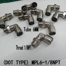 Точечный тип) MPL06MM-NPT1/8,90 градусов поворотный мужской локоть, Brasspush в фитингах, одно касание в фитингах