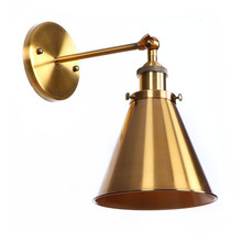 Vintage Iron Gold color Wall Lamp High-Quality Long Arm Cinnamon Metal Brass Wall Sconce Garden Corridor Lighting abajour free shipping outdoor brass wall lamp american design crystal wall sconce brass color wall lighting lamp wall brackets lights