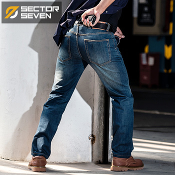 Sector Seven 2020 new Cordura  SWAT Military Cargo Jeans Men Casual Jeans Stretch Multi Pockets Tactical Combat Army