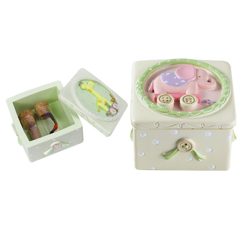 OOTDTY 1PC Wooden Baby Teeth Box Cute Cartoon Animal Newborn Infants Toddlers Umbilical Cord Storage Box Collection Souvenir