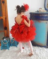 Vestido de tutú para bebé y niño de 1 a 6 años, vestido rojo de lentejuelas con lazo, fiesta de princesa, boda, cumpleaños, navidad