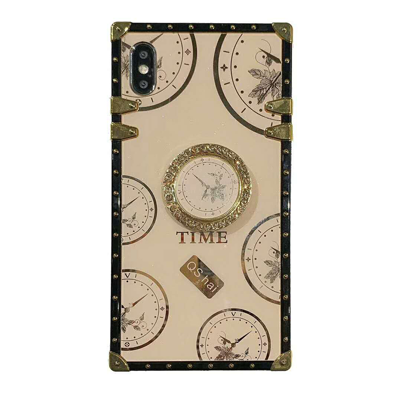 Luxury glossy time pattern TPU material square Phone Case For iPhone SE 6 6s 7 8 Plus 11 Pro X XR XS MAX time Ring Bracket Cover (11)
