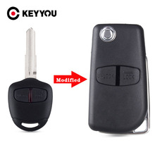 KEYYOU 20x Modified Flip Remote Key Shell Case For Mitsubishi New ASX GRANDIS Outlander LANCER 2/3 Buttoons Right Left Blade