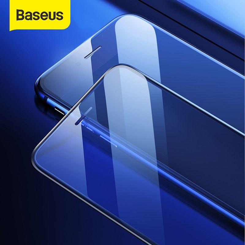 Baseus 0.3 مللي متر رقيقة واقية الزجاج آيفون 7 8 6 6s حامي الشاشة 9H التغطية الكاملة الزجاج المقسى ل آيفون X XS ماكس|واقيات شاشة الهاتف|   - AliExpress