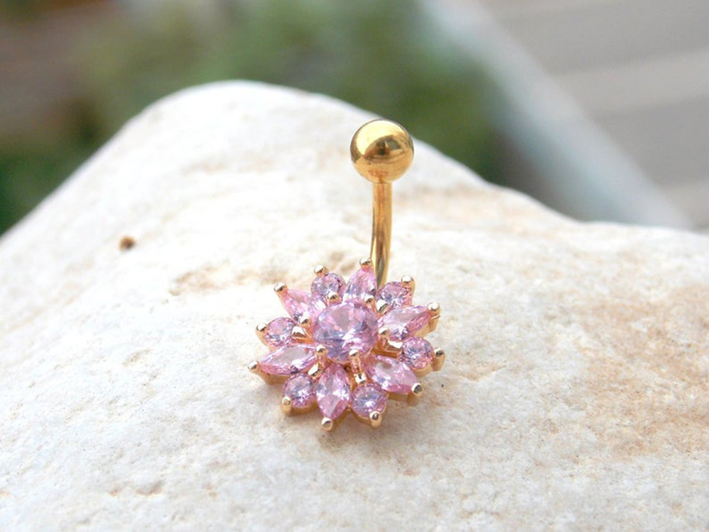 He573c0540b6e498ea9f6d96f3c077cd3y Navel Piercing Body Jewelry Crystal Flower Belly Button Ring