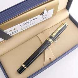 Pluma estilográfica de pistón Wing Sung 698, pluma de tinta de 14K y oro, punta fina para exposición, papelería de negocios, suministros para oficina y escuela, regalo para escribir