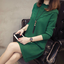 Korean Style Modis Black Knitted Dress Women Long Sleeve Midi Loose Casual Sweater Basic Clothe Solid Office