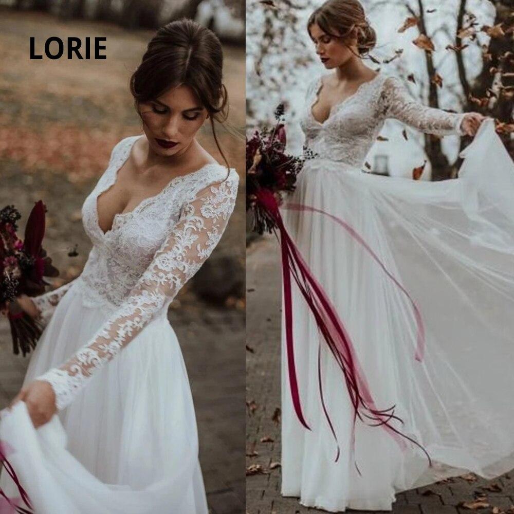 LORIE Long Sleeve Lace Beach Wedding Dress Illusion V-neck Backless Soft Tulle Bridal Gowns A-line Princess Vestido De Noiva
