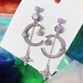 MENGJIQIAO мода Корейский Элегантный Стразы луна, свисающие серьги для женщин, серьги с цветами и кристаллами Boucle D'oreille вечерние ювелирные издел...