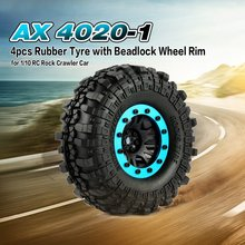 Hot! RC Parts 4pcs 110mm 1.9in Rubber Tire with Alloy Beadlock Wheel Rim for AXIAL SCX10 90046 4WD D90 1/10 Rock Crawler Car