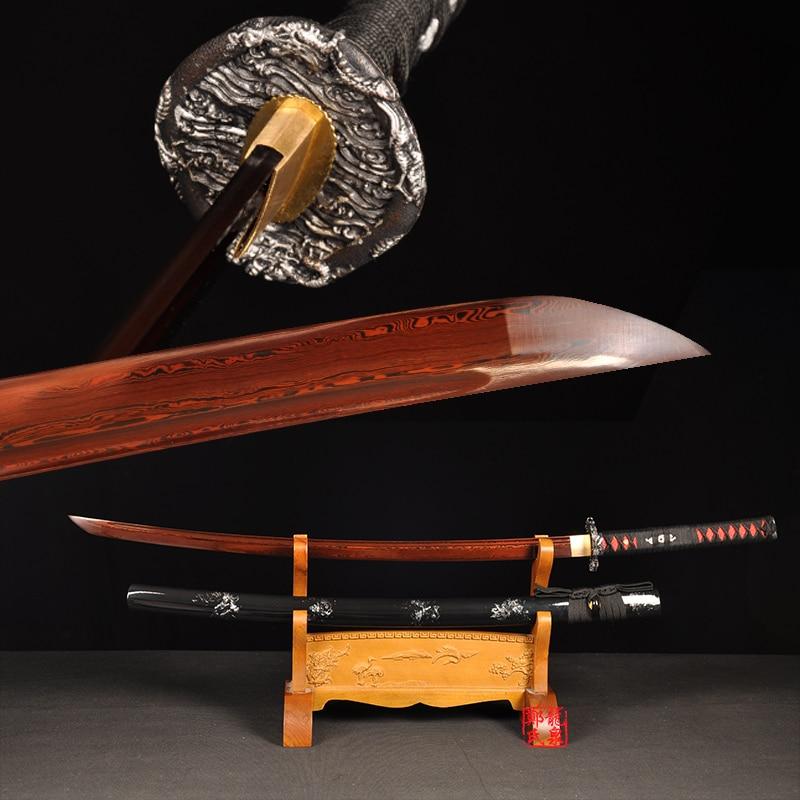 Red Color Forged Samurai Sword Handmade Folded Full Tang Japanese Katana Sharpness For Battle Wooden Sheath