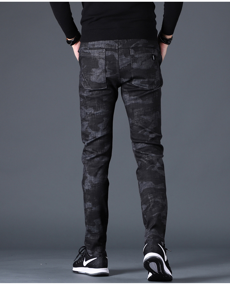 Free shipping new fashion men's male casual Original camouflage jeans men plus velvet autumn stitching pants Slim Korean C3129 93