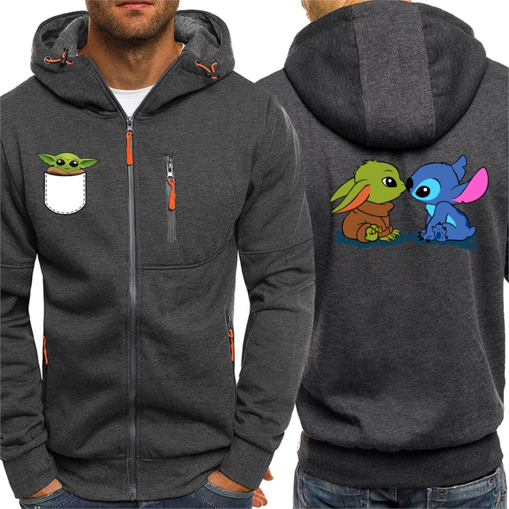 Mandalorian Star Wars Men Hoodies Hip Hop Baby Yoda Streetwear Spring Winter New Casual Zipper Jacket Cartoon Cute Print Hooded