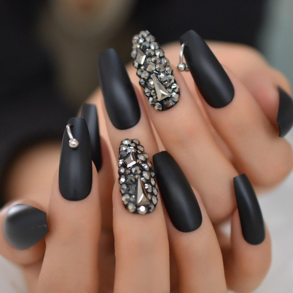 preto fosco 3d rhinestone acrilico nail dicas caixao luxuoso bailarina de imprensa em unhas pontas das