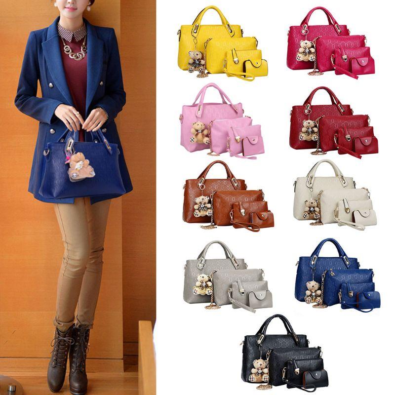 4PCS/Set Women Lady Leather Handbag Shoulder Bags Tote Purse SatchelMessenger