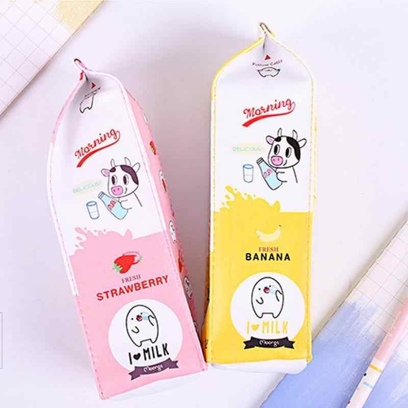Cartoon milk carton pen bag primary school students cute creative large-capacity pencil bag woman simple stationery pen box