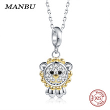 MANBU Hot Sale Lion King necklace sterling silver 925 with crystal zircon trendy fashion chokers necklaces for women cute animal necklace ska brand silver 925 sterling chokers necklaces for women olive leaf aaa zircon fashion fine jewelry ac4034ox
