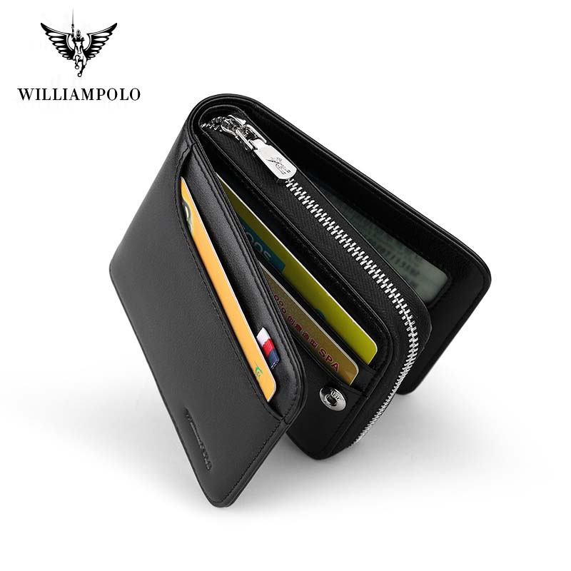 WilliamPolo zipper leather wallet men's fashion multifunctional business card holder high quality pure leather black cash pocket Men Men's Bags Men's Wallets cb5feb1b7314637725a2e7: black175112|blue175112