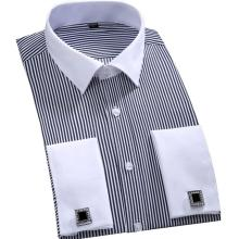 Men's Dress Shirts Loose French Cuff Regular Fit Luxury Striped Business Long Sleeve Cufflinks Social Pluse Size 6XL