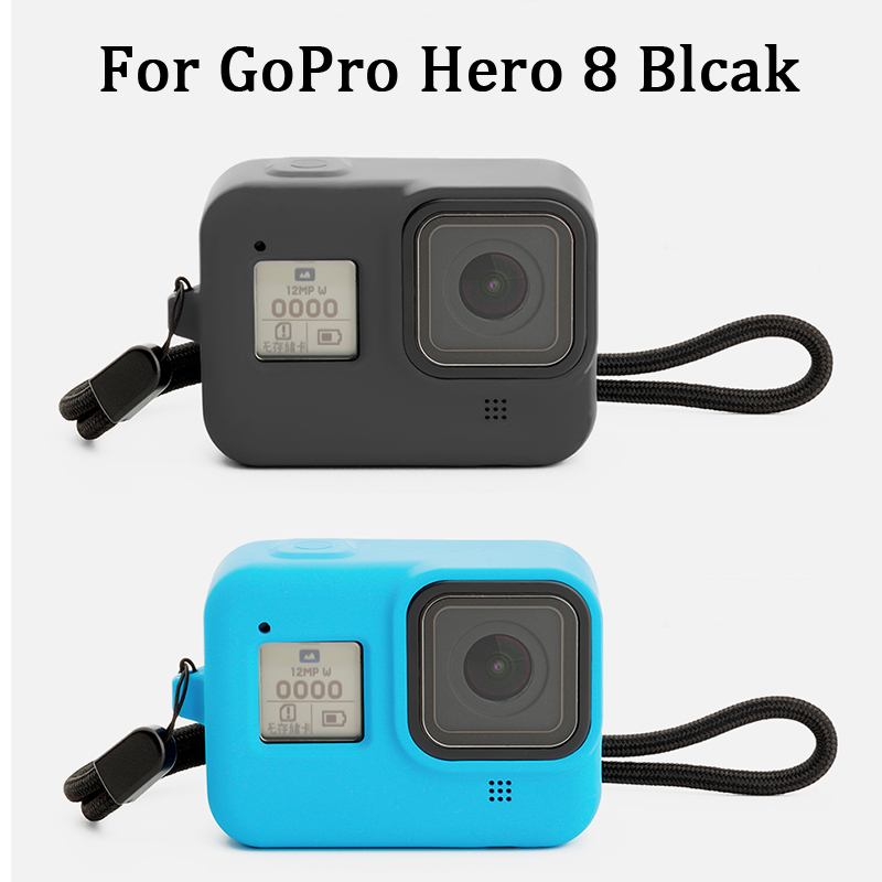 Protective Silicone Sleeve Cases + Lanyard For GoPro Hero 8 Black Accessories Soft Rubber Frame Cover Case Protection For Go Pro