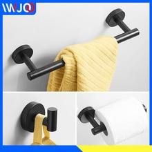 цена на Stainless Steel Towel Bar Set Towel Holder Black Toilet Paper Holder Wall Mounted Bathroom Hook for Towels Bag Hat Key Coat Rack