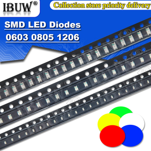 100pcs 0603 0805 1206 smd led Red Yellow Green White Blue light emitting diode Clear LED Light Diode Set