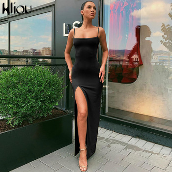 Sleeveless slit sexy maxi long dress autumn winter women fashion party elegant outfits bodycon black pure clothing 1