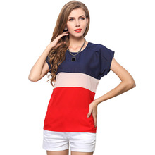 Women Sexy Loose Casual Short Sleeve T-Shirt Fashion Summer Splice Color Leisure O-Neck Ladies Tops T-Shirt Tees Large Size цена