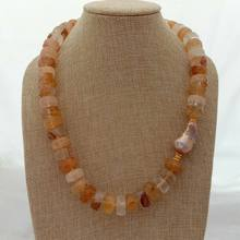 "20"" Brazilian Golden Quartz Faceted Rondelle Wheel Pink Keshi Pearl Necklace(China)"