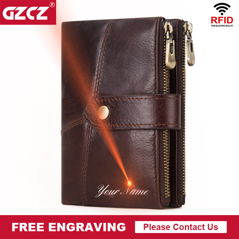GZCZ 100% Genuine Leather Rfid Wallet Luxury Designe Men Hasp Vintage Male Purse Short  Coin Pouch Multi-functional Cards Wallet
