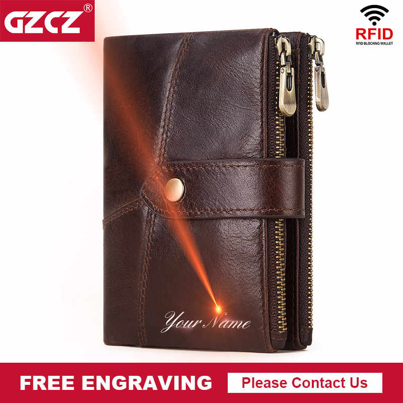 GZCZ 100% ของแท้หนัง RFID กระเป๋าสตางค์ Designe ผู้ชาย VINTAGE ชายกระเป๋าใส่เหรียญ POUCH Multi-functional การ์ดกระเป๋าสตางค์
