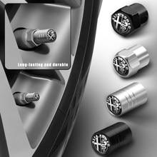 4pc estilo do carro de alumínio roda pneu válvula caule tampas capa peças automóvel para alfa romeo 159 147 156 166 giulietta giulia mito gt