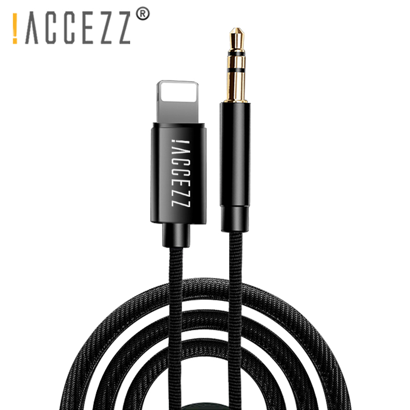 !ACCEZZ Car AUX Cable Audio Cord For Iphone X XS MAX XR 7 8 Plus Converter 3.5mm Jack Headphone Adapter AUX Splitter Cables Line