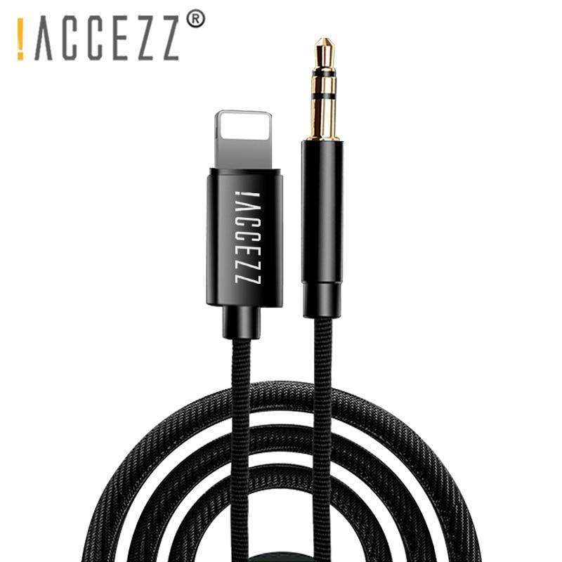 !ACCEZZ Car AUX Cable Audio Cord For Iphone X XS MAX XR 7 8 Plus Converter 3.5mm Jack Headphone Adapter AUX Splitter Cables Line