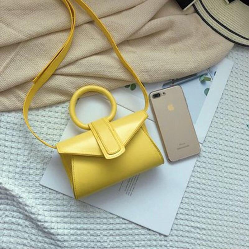Arsmundi Women Fashion Waist Pack Mini Small Messenger Bag Elegant Brand Designer Round Handle Crossbody Bag PU Girls Handbags
